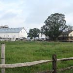 This is the view of the farm from the walkway to the Little White House.