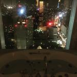 The bath and view from the hotel room