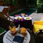 Breakfast served in our courtyard