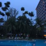 Hotel's view from the poolside, sunset time.