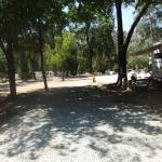 This is our Site #27, picnic table & firepit under shady trees on new gravel.