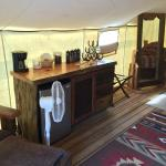 Glamping Counter, Coffee Pot, Under Counter Fridge