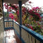 The front balcony at Casa Adrian with Bougainvillea in flower