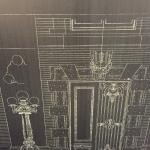 Courthouse blueprints were enlarged to make the stunning wallpaper in the lobby.