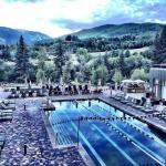 Beaver Creek Mountain in background with the amazing on property pool