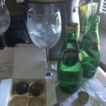 Greeted with chocolates & perrier