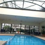 Heated enclosed swimming pool (spa & gym are either side of photograph)