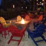 Beautiful firepit at hotel near pool