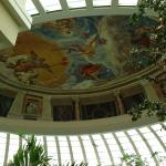 The atrium lobby ceiling with Italian frescoes at the Iberostar Grand Paraiso.