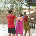 Norbis and Tiago leading a spirited round of Archery. At night these guys star in the show!
