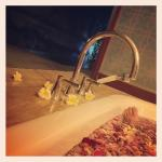 Rose petal bath in the villa