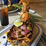 The pineapple boat with seafood mast. AMAZING