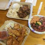 Poke rice bowl, terriyaki chicken (with mac and cheese salad) and fried shrimp