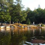 Water access littered with canoes