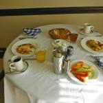 Breakfast brought in by our butlers