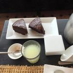 Chocolate cake and lemonade with breakfast
