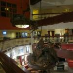 Mountain climbing statues in the center of the hotel