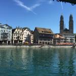 View of Grossmünster from our river view double.