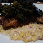 Grilled snapper with collard greens and served over succotash.