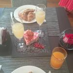 Our anniversary treat specially prepared for us at breakfast.