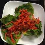 Spinach Salad with Pork Belly & Shredded Carrots