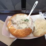 Clam chowder in sourdough bread bowl from Boudin's Bakery