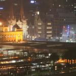 View by night looking towards Flinders St station