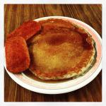 Banana pancake with a side of Spam