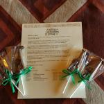 Welcome letter and chocolate pops