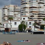 View from beach in front of hotel