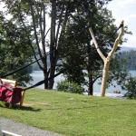 Giant catapult in the grounds of another hotel on the lake. A deterrent for non bill payers