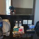 Complimentary goods by the hotel (with me happily taking photos shown by the mirror's reflection