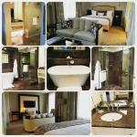 a collage of the deluxe king room