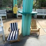 Benches beside Shell We Golf