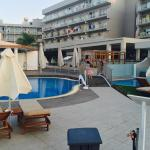 Allocated sunbeds for Room 601 to the left in front of over 18s only pool