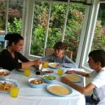 Dinner in the conservatory (used usually for summer breakfasts)