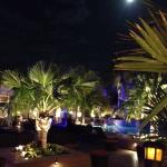 Pool and patio at night