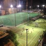 View from the room window - sport fields at night