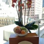 Orchids and fruit in the fitness center