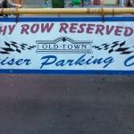 """The """"Old Town"""" car show lot trophy row."""