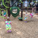 The on-site playground. Cute, but no swings and a little challenging for the smallest tots