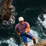 Climb the cliff at the tip of Aqua's bay, then rappel down!