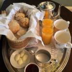 Warm buttermilk biscuits and chicory coffee served on a silver tray--better than Cafe du Monde.
