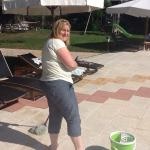 Posted this photo of the owner Helen mopping up a spillage by the pool, disproving the comment 2