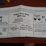 At check-in, you're given coupons for local attractions as well