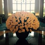Fresh White roses in lobby. Gorgeous!