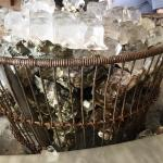 Wire baskets of oysters