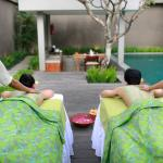 Massage at side of pool in villa