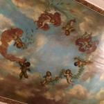 The lobby's frescoed ceiling