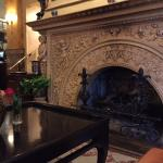 The hotel's grand fireplace
